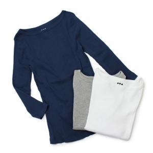 スリードッツ / three dots / コットン バリエーションリブ ボートネック Tシャツ / セール / 返品・交換不可|luccicare