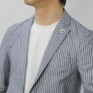 ラルディーニ / LARDINI / JPCM25 / コットン ストライプ 3釦 3パッチ 製品洗い加工 シャツ ジャケット luccicare 12