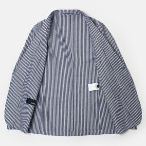 ラルディーニ / LARDINI / JPCM25 / コットン ストライプ 3釦 3パッチ 製品洗い加工 シャツ ジャケット luccicare 05