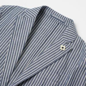 ラルディーニ / LARDINI / JPCM25 / コットン ストライプ 3釦 3パッチ 製品洗い加工 シャツ ジャケット luccicare 06