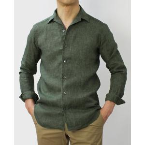バグッタ / BAGUTTA / JOHNNY GL 09064 / 製品染めリネン オープンカラー シャツ luccicare 02