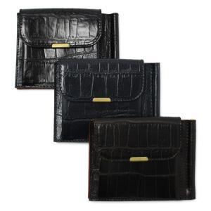 フェリージ / Felisi / 915/2/SA / エンボスレザー クロコ型押し マネークリップ付き 二つ折り財布 / 返品・交換可能|luccicare