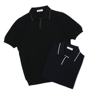 グランサッソ / GRANSASSO / トリミング フレッシュコットン 12G ニット スキッパー ポロシャツ / 返品・交換不可|luccicare