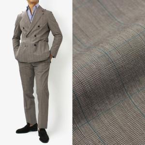 【国内正規品】S/S 新作 LARDINI ( ラルディーニ ) / EASY WASH ウォッシュドコットン グレンチェック柄 6Bダブルブレスト ワンプリーツ スーツ|luccicare