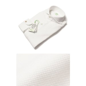 【国内正規品】新作 Finamore ( フィナモレ ) / SERGIO ( セルジオ ) / コットン ワッフルメッシュ織 カッタウェイ シャツ|luccicare