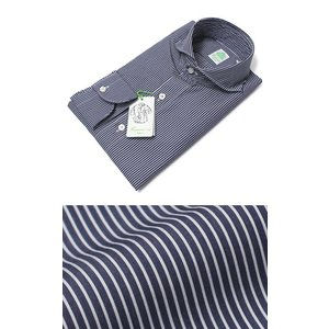 フィナモレ / Finamore / SERGIO / コットン ストライプ カッタウェイ シャツ|luccicare
