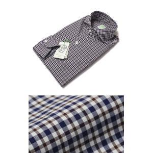 フィナモレ / Finamore / SERGIO / コットン チェック柄 カッタウェイ シャツ|luccicare