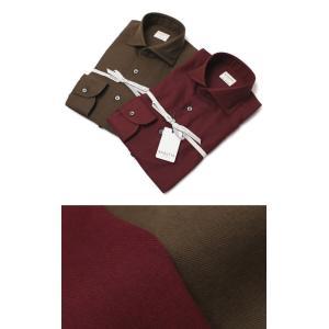 バグッタ / BAGUTTA / MILANOモデル / Albini社 コットン スーパーソフト ライトフランネル セミワイドカラー シャツ|luccicare