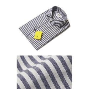 ジャンネット / GIANNETTO / コットン リネン ロンドンストライプ柄 セミワイドカラー シャツ / セール / 返品・交換不可|luccicare