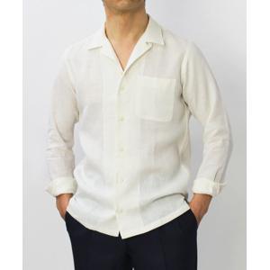 ジャンネット / GIANNETTO / リネン オープンカラー 長袖 開襟シャツ / セール / 返品・交換不可|luccicare|02