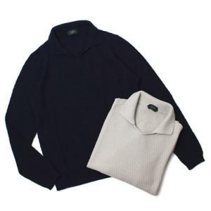 ザノーネ / ZANONE / GIRO POLO / 12G コットンクレープ 襟付き ジャカード ニット|luccicare