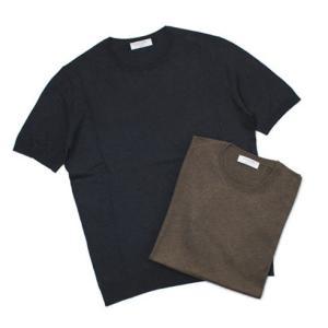 【国内正規品】S/S 新作 GRANSASSO ( グランサッソ ) / 18G シルク100% クルーネック メランジニット Tシャツ|luccicare