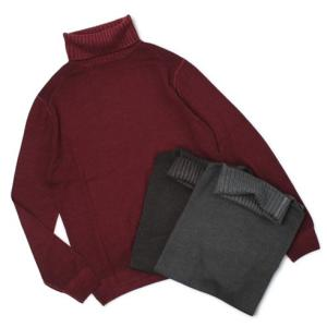 クルチアーニ / Cruciani / 製品染め ウール 編地切り替え タートルネック セーター|luccicare