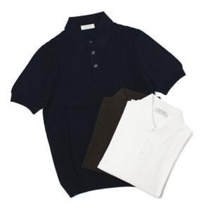 グランサッソ / GRANSASSO / 12G フレッシュ コットン 前身頃リブ ニット ポロシャツ / セール / 返品・交換不可|luccicare