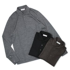 グランサッソ / GRANSASSO / ウール ジャージー ロングスリーブ ポロシャツ / セール / 返品・交換不可|luccicare
