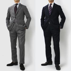 ラルディーニ / LARDINI / ウール コットンストレッチ 3釦段返り ワンプリーツ スーツ / セール / 返品・交換不可|luccicare