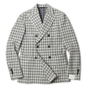 L.B.M.1911 ( エルビーエム1911 ) / Dandy Jacket Limited Edition / 千鳥格子柄 コットン ジャージー ダブルブレスト ジャケット【オフホワイト】|luccicare