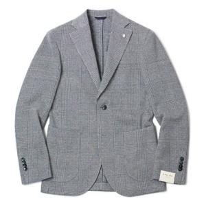 L.B.M.1911 ( エルビーエム1911 ) / Dandy Jacket / リネン コットン ジャージー グレンチェック柄 ジャケット【ネイビー】|luccicare