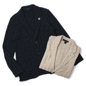 LARDINI ( ラルディーニ ) / コットン ストライプ編み ニット ジャケット【ライトベージュ/ネイビー】|luccicare