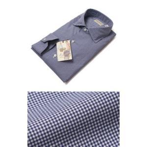 Finamore ( フィナモレ ) / LUIGI ( ルイージ ) / NEW VINTAGE / コットン ギンガムチェック柄 セミワイドカラー シャツ【ブルー】|luccicare