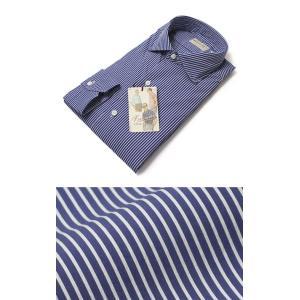 Finamore ( フィナモレ ) / LUIGI ( ルイージ ) / NEW VINTAGE / コットン ストレッチ ストライプ柄 セミワイドカラー シャツ【ブルー】|luccicare