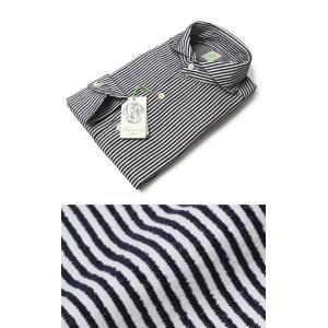 フィナモレ / Finamore / SERGIO / コットン ストライプ柄 カッタウェイ シャツ luccicare