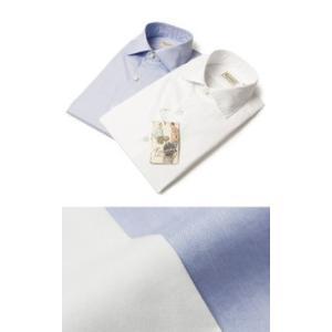 Finamore ( フィナモレ ) / LUIGI ( ルイージ ) / NEW VINTAGE JAMES / コットン オックス セミワイドカラー シャツ【ホワイト/サックス】【送料無料】|luccicare