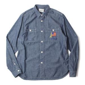 CAL O LINE ( キャルオーライン )  / コットン 刺繍 シャンブレー シャツ【ブルー】【送料無料】|luccicare
