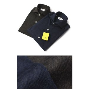 GIANNETTO ( ジャンネット ) / コットンメランジ ジャージー セミワイドカラー シャツ【ブラウン/ネイビー】【送料無料】|luccicare