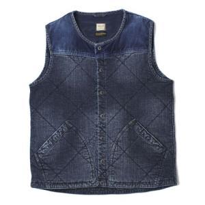 【MEN】 YANUK ( ヤヌーク ) / Thermal Denim Vest / Thinsulate コットン キルティング ストレッチデニム 中綿ベスト【ブルー】【送料無料】|luccicare