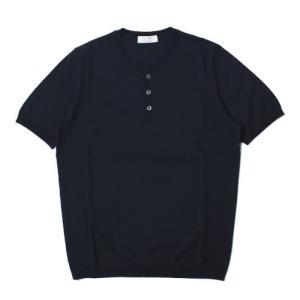 GRANSASSO ( グランサッソ ) / フレッシュコットン ヘンリーネック ニット Tシャツ【ネイビー】【送料無料】|luccicare