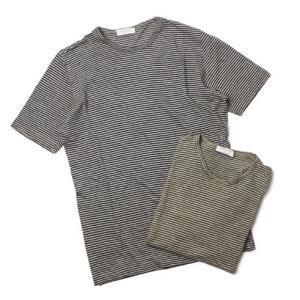 GRANSASSO ( グランサッソ ) / リネン100 ボーダー クルーネック Tシャツ【カーキ/ネイビー】【送料無料】|luccicare