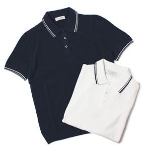 GRANSASSO ( グランサッソ ) / コットン パイル ポロシャツ【ホワイト/ネイビー】【送料無料】|luccicare
