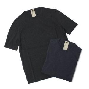 H953 ( アッカ ノーヴェチンクエトレ ) / コットン クルーネック ニット Tシャツ【ネイビー/チャコール】【送料無料】|luccicare
