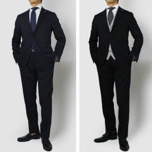 LARDINI ( ラルディーニ ) / ウールサージ ストレッチ 3釦段返り ワンプリーツ シングル スーツ【ネイビー/ブラック】|luccicare