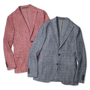 eleventy ( イレブンティ ) / コットン ジャカードジャージー 2B シングル ジャケット【ブルー/レッド】【送料無料】|luccicare