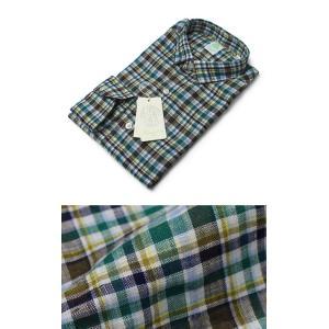 フィナモレ / Finamore / SILVANO / チェック柄 リネン スモールカラー シャツ luccicare