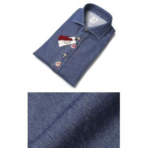 BOLZONELLA ( ボルゾネッラ ) / コットン 変わり織デニム インディアン刺繍 カッタウェイシャツ【インディゴ】【送料無料】|luccicare