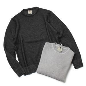 H953 ( アッカ ノーヴェチンクエトレ ) / ウール ハニカム クルーネック セーター【アイスグレー/ブラック】【送料無料】|luccicare