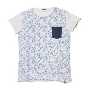 fiver ( ファイバー ) / コットン プリント柄 クルーネックTシャツ【ブルー】【送料無料】|luccicare