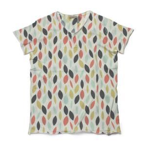 ファイバー / fiver / コットン リーフ柄プリント VネックTシャツ|luccicare