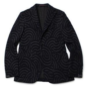 THE GIGI (ザ ジジ) / DEGAS / ウール コットン ジャカードジャージー 3B2パッチ シングルジャケット【ネイビー】【送料無料】|luccicare