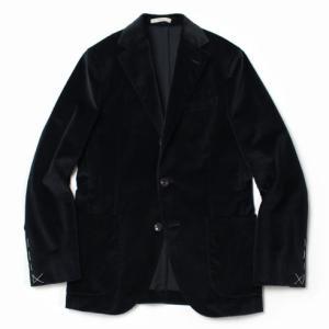 BOGLIOLI ( ボリオリ ) / NEW DOVER / コットン ベロア 3釦段返り2パッチ シングルジャケット【ブラック】【送料無料】|luccicare