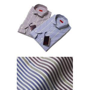ISAIA ( イザイア ) / CUBA (キューバ) / ストライプ柄 コットン ワイドカラーボタンダウンシャツ【パープル/ブルー】|luccicare