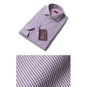 ISAIA ( イザイア ) / LEUCA (レウカ) / チェック柄 コットン セミワイドカラーシャツ【パープル】【送料無料】|luccicare