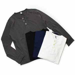 ORIGINAL VINTAGE STYLE ( オリジナル ヴィンテージ スタイル ) / コットン 天竺ニット ヘンリーネック ロングスリーブ Tシャツ luccicare