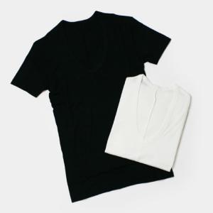 luccicare original / アンダーウェア  Uネック半袖Tシャツ【ホワイト/ブラック】|luccicare