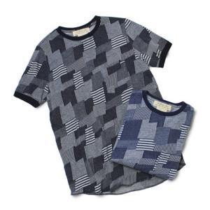 レミレリーフ / REMI RELIEF / インディゴ パッチワーク ジャガード Tシャツ / 返品・交換可能|luccicare
