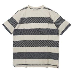 レミレリーフ / REMI RELIEF / インディゴ 太ボーダー 半袖 Tシャツ / 返品・交換可能|luccicare
