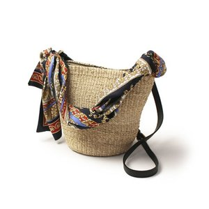 ヴィオラドーロ / VIOLAd'ORO / MIRO / アバカ × 牛革 シルクスカーフ付き カゴ ショルダー バッグ / 返品・交換可能|luccicare